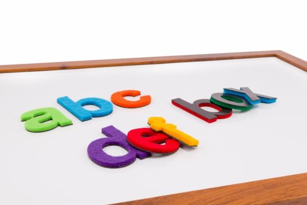 Alfabet magnetyczny z filcem małe litery